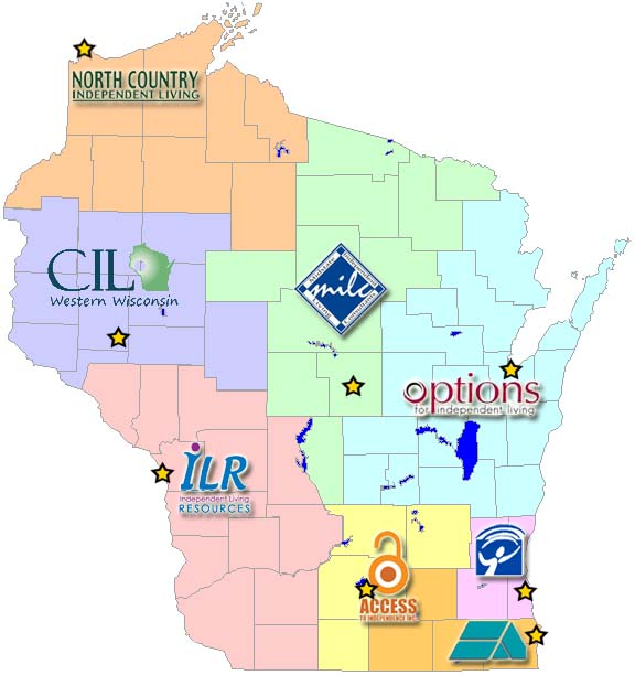 Wisconsin Centers for Independent Living by region